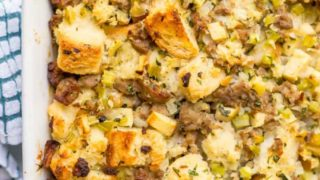 Turkey sausage and apple dressing