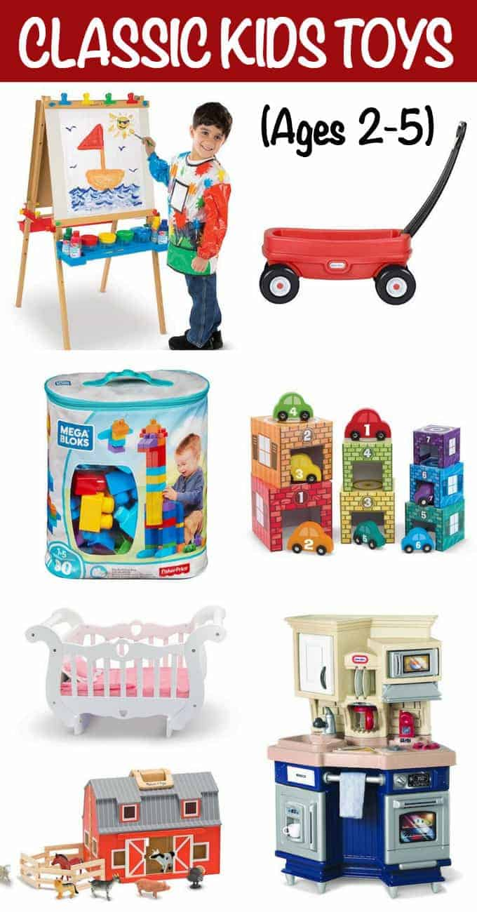 Classic toys for kids 2-5 is a gift guide round-up of some of our tried-and-true favorites that stand the test of time and are perfect for encouraging learning, imagination and playful fun!