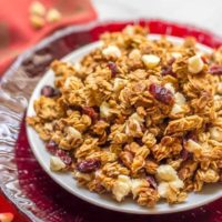 Cranberry white chocolate granola