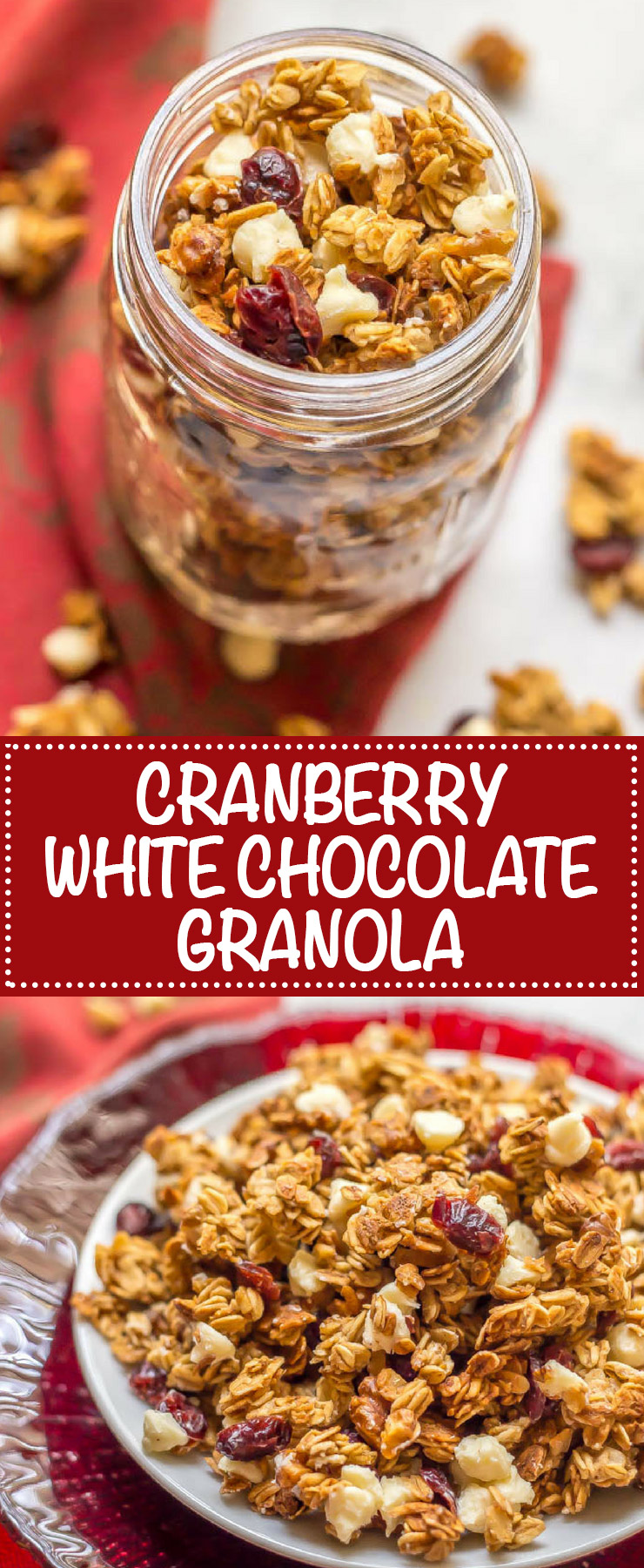 Cranberry white chocolate granola is an easy, delicious, and festive baked granola that's perfect for healthy holiday breakfasts and snacking! | www.familyfoodonthetable.com