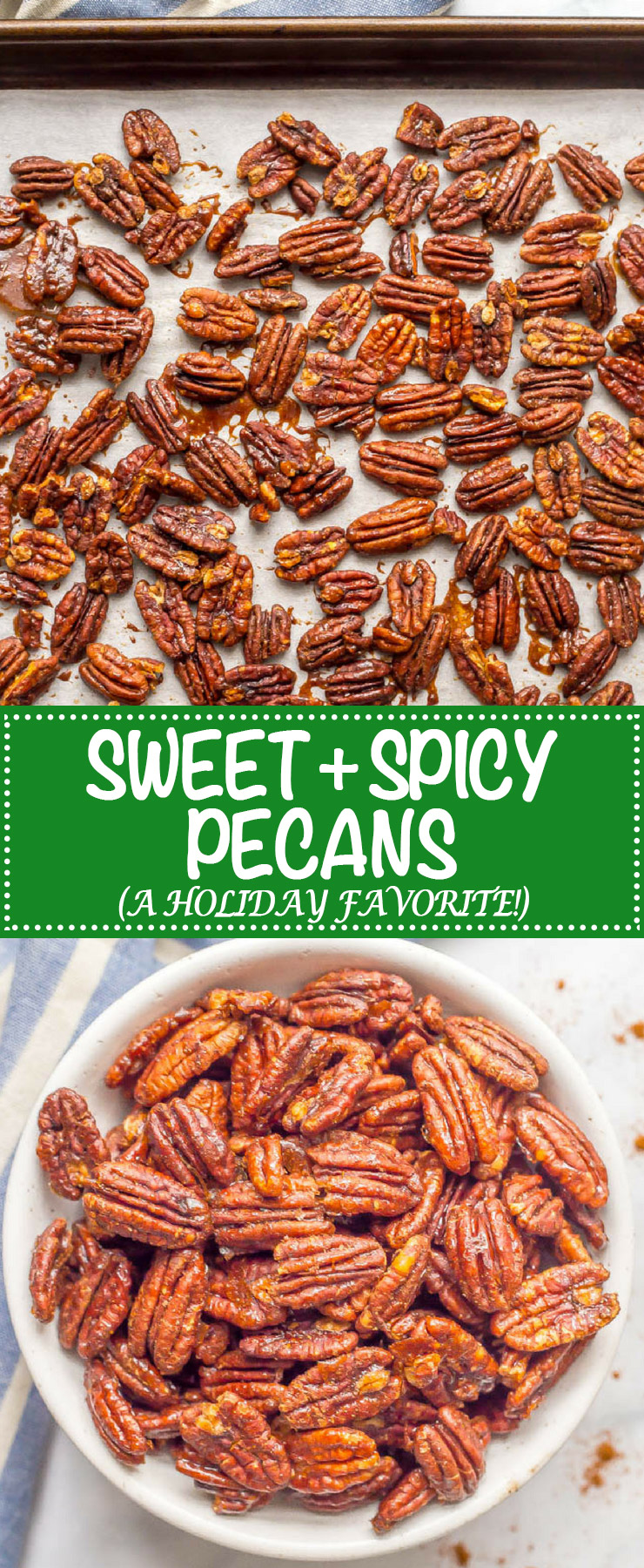 Sweet and spicy pecans with maple syrup are perfectly balanced with salty-sweet flavors and a little heat on the end. They're a holiday favorite! #holidayfood #roastednuts #christmasfood #snacking #pecans #healthysnack | www.familyfoodonthetable.com