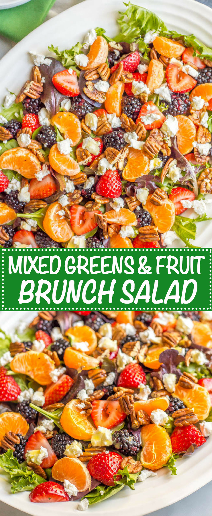 This mixed greens salad with fruit, goat cheese and nuts is perfect for a beautiful side dish or brunch spread! It comes together quickly and is finished with a super easy honey-lime vinaigrette. #easysalad #brunch #vegetarian | www.familyfoodonthetable.com