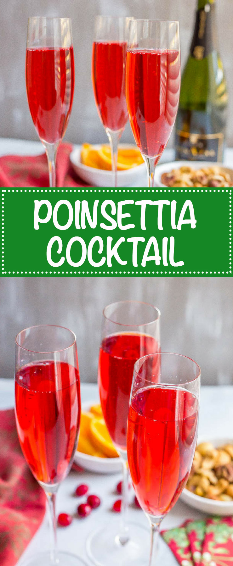 Poinsettia cocktail is an easy but pretty cranberry mimosa that's fun and festive for the holidays! #champagne #cranberryjuice #mimosa #cocktail #holidays