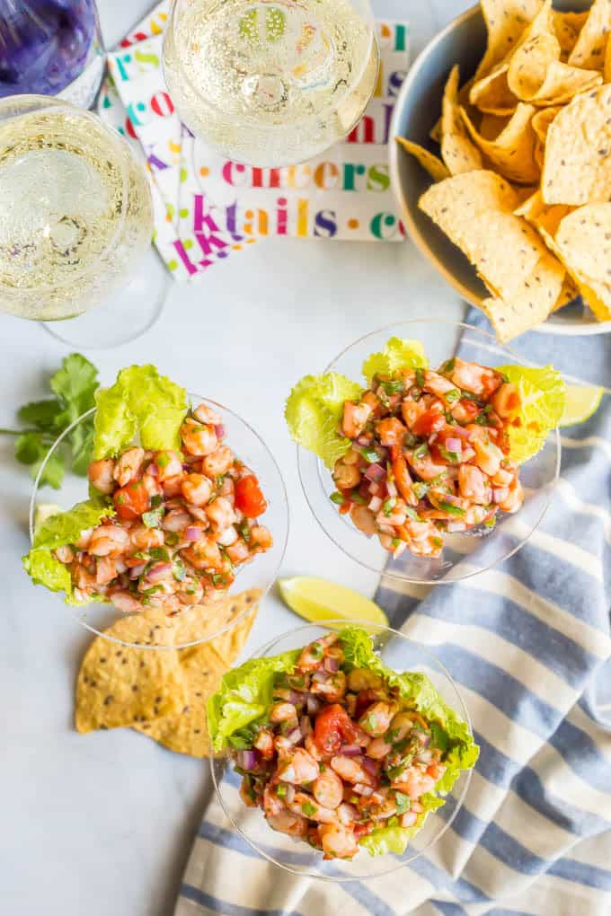 Shrimp martini appetizer is an easy shrimp salsa dip that's perfect for a fun and fancy appetizer with friends and family! | www.familyfoodonthetable.com