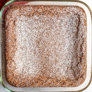 Whole wheat gingerbread bars in pan after baking with powdered sugar dusted on top
