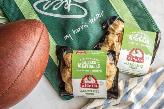 Aidells chicken meatballs with Harris Teeter bag and a football