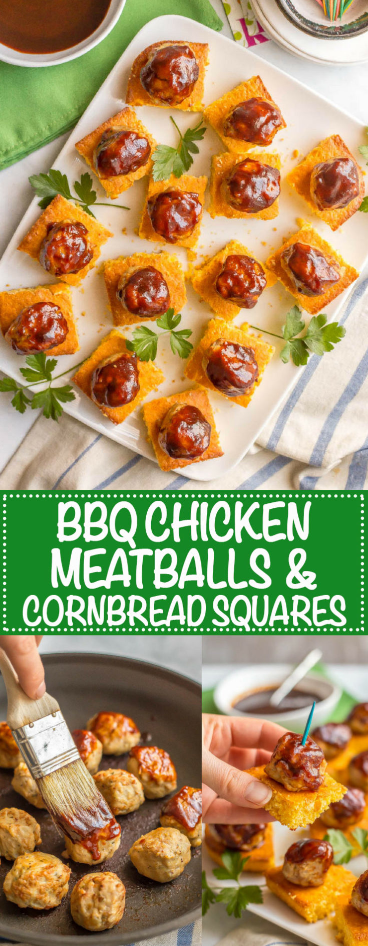 Chicken meatballs and cornbread appetizer with BBQ sauce is a fun, flavorful twist on party food that's perfect for game day and entertaining!