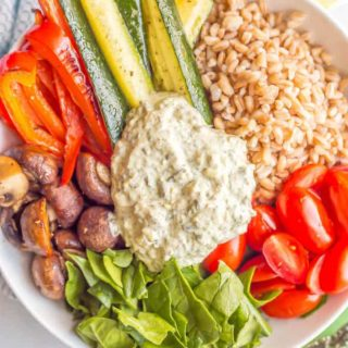 Farro and roasted vegetable grain bowl