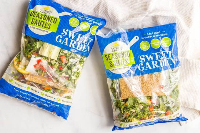 Two bags of Nature's Greens Seasoned Sautés Sweet Garden meal kits