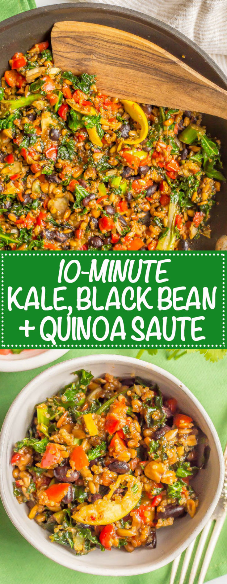 Kale black bean quinoa sauté is a meal kit in a bag that takes less than 10 minutes to cook!