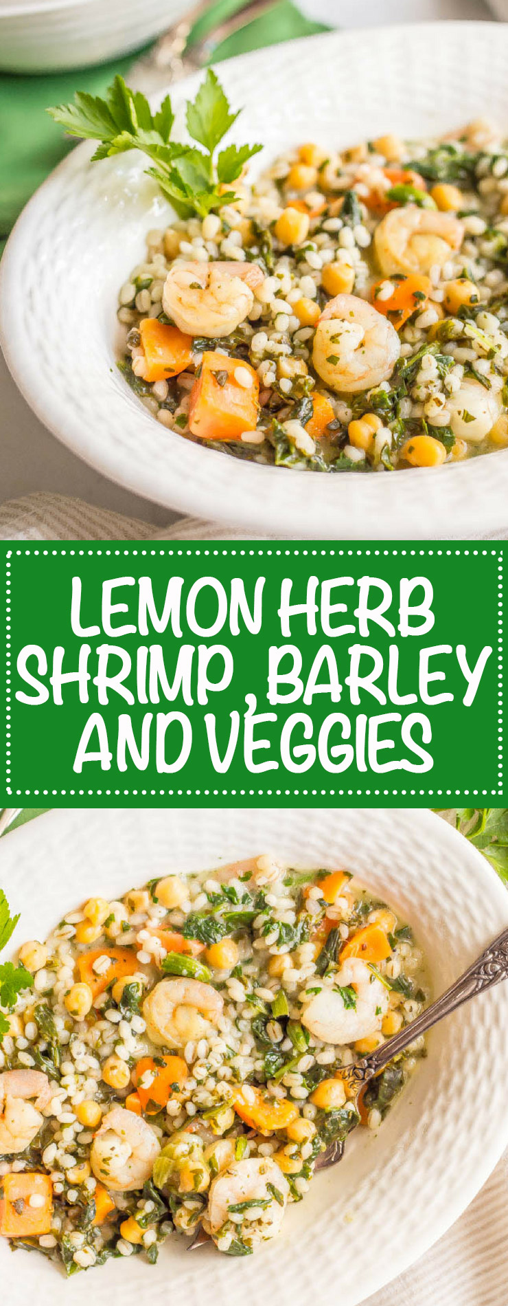 Photo collage of Lemon herb shrimp and veggies with barley