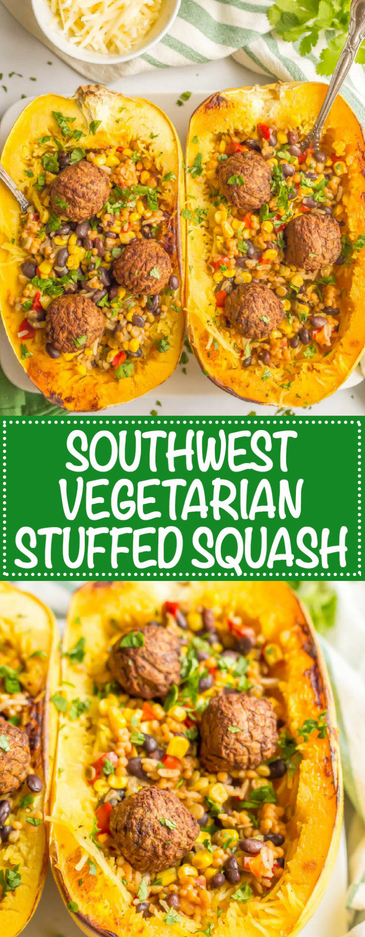 Southwest vegetarian stuffed spaghetti squash is a hearty and satisfying plant-based recipe with great flavor and textures.
