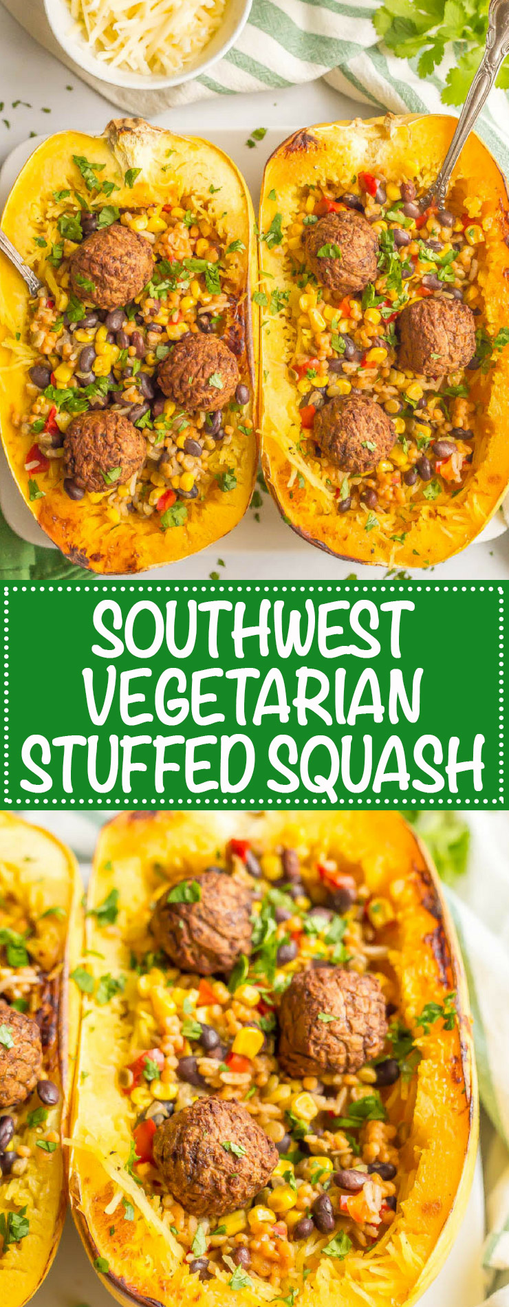 Southwest vegetarian stuffed spaghetti squash is a hearty and satisfying plant-based recipe with great flavor and textures. Add your favorite toppings and dig into this delicious dinner! #vegetarian #stuffedsquash #plantbasedrecipe | www.familyfoodonthetable.com