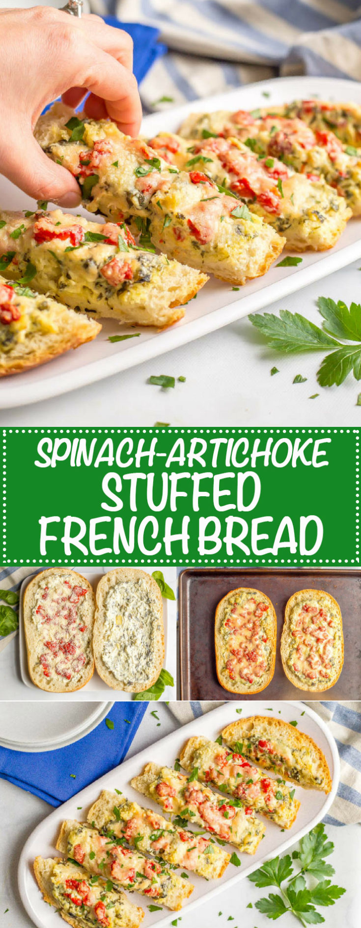 Spinach artichoke stuffed French bread is a super easy recipe that's always a crowd pleaser! Spinach artichoke dip is layered over French bread, topped with cheese and then baked until bubbly to make an irresistible appetizer for game day or any party!