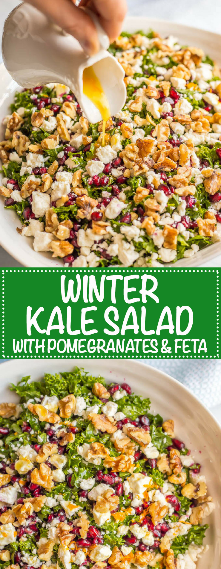 Winter kale salad with pomegranates, feta cheese, walnuts and an easy citrus dressing is perfect for a bright, fresh side dish or light lunch and can be prepped ahead for a healthy week! #kalesalad #healthysalad #easyrecipe #wintersalad | www.familyfoodonthetable