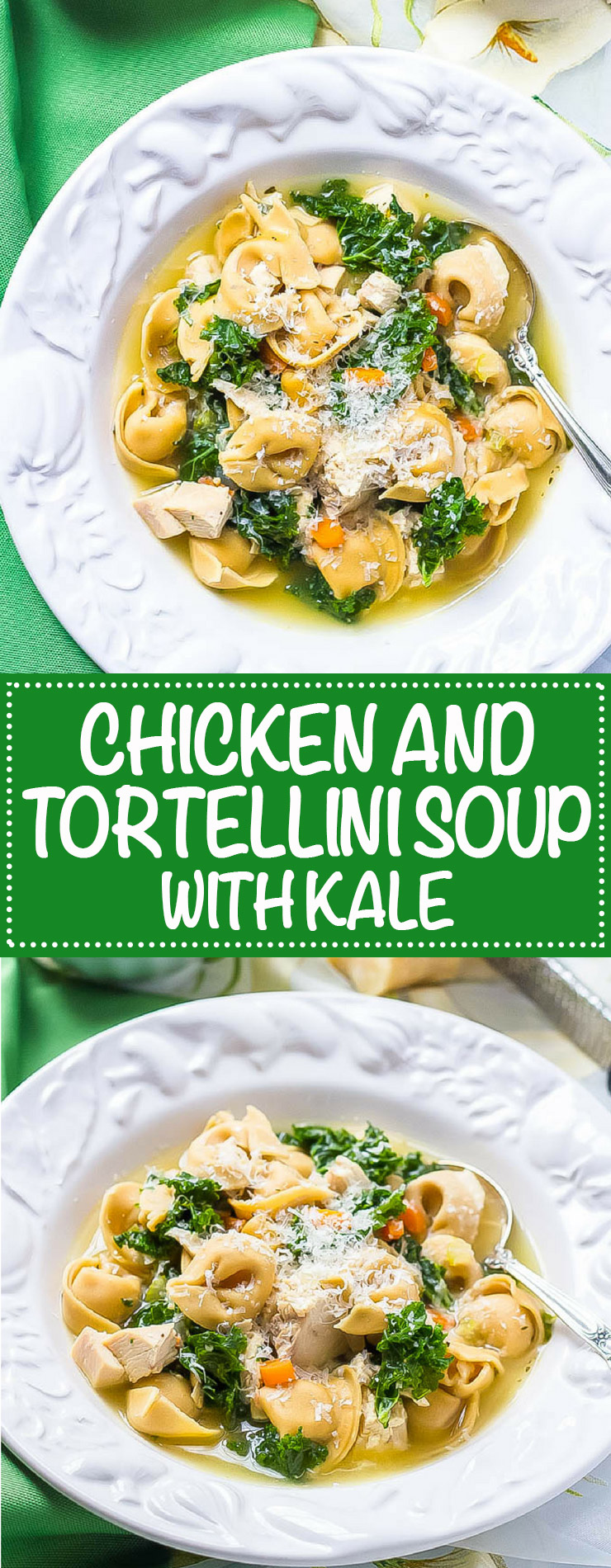 Photo collage of chicken tortellini soup with kale