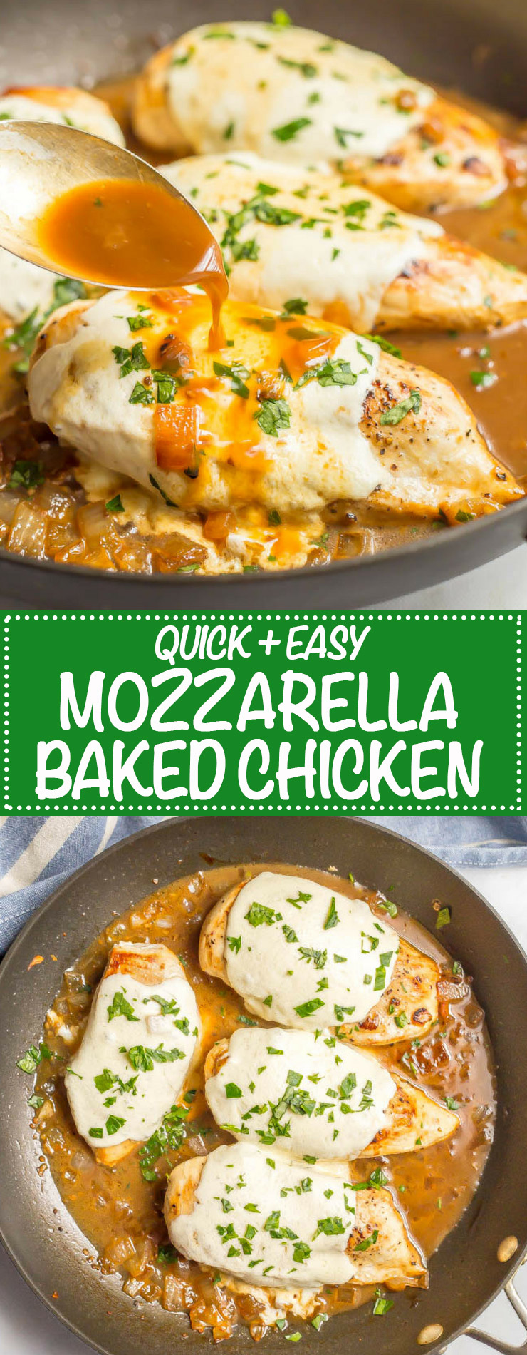 Easy mozzarella baked chicken has just a few simple ingredients but BIG flavor! It's warm and cheesy, requires just 6 ingredients and is ready in just 25 minutes, making it perfect for a quick dinner everyone will love! #easychickenrecipes #quickchickendinners #mozzarellachicken #easybakedchicken | www.familyfoodonthetable.com