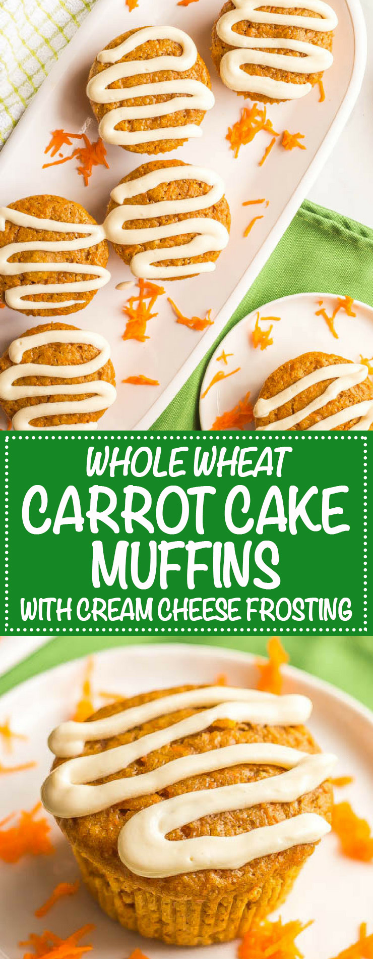 Whole wheat carrot cake muffins are fun for a healthy breakfast, snack or school lunch. Naturally sweetened and loaded with shredded carrots, these muffins are great on their own or with a light cream cheese frosting. #healthymuffins #wholewheatmuffins #healthybreakfast #carrotcake | www.familyfoodonthetable.com