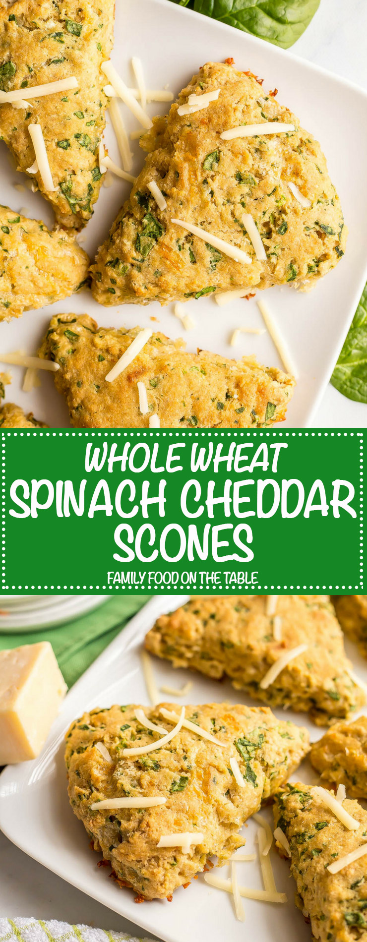 Long photo collage of whole wheat spinach cheddar scones