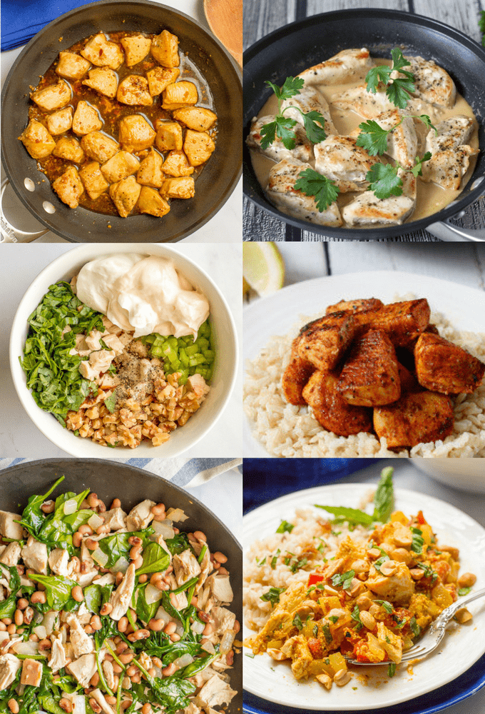 These easy chicken recipes in under 15 minutes are perfect for dinner on a busy weeknight! From one-pot wonders to salads, chicken skillets to tacos, you're sure to find some new fast favorites! #easychickenrecipes #quickchickenrecipes | www.familyfoodonthetable.com
