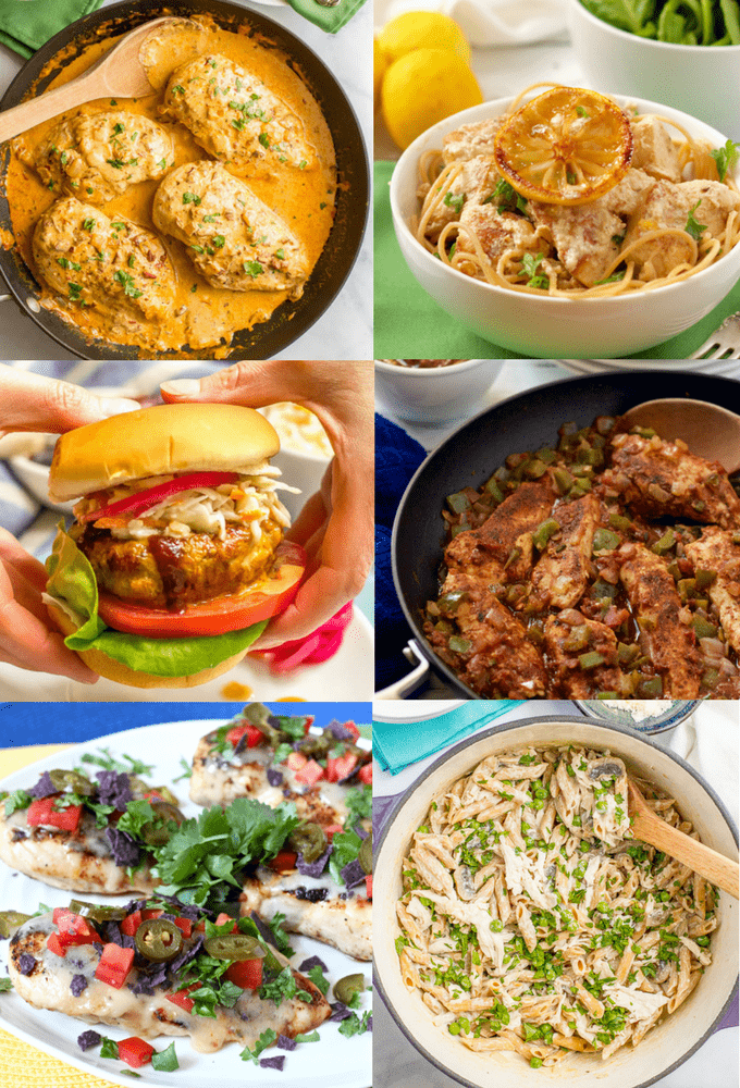 These easy chicken recipes in under 30 minutes are perfect for dinner on a busy weeknight! From one-pan meals to burgers, one-pot pastas to healthy salads, you're sure to find some new favorites! #easychickenrecipes #quickchickenrecipes #30minutemeals | www.familyfoodonthetable.com