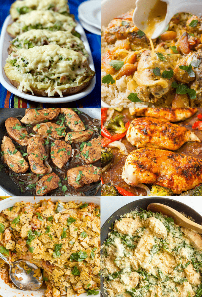 Photo Collage Of 6 Recipes For Easy Chicken Dinners