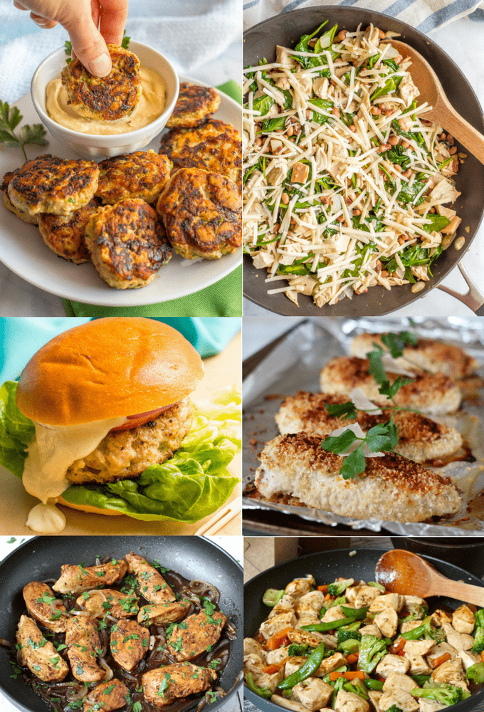 Photo collage of easy chicken recipes requiring 5 or fewer ingredients