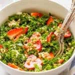 Farro, kale and strawberry salad with goat cheese