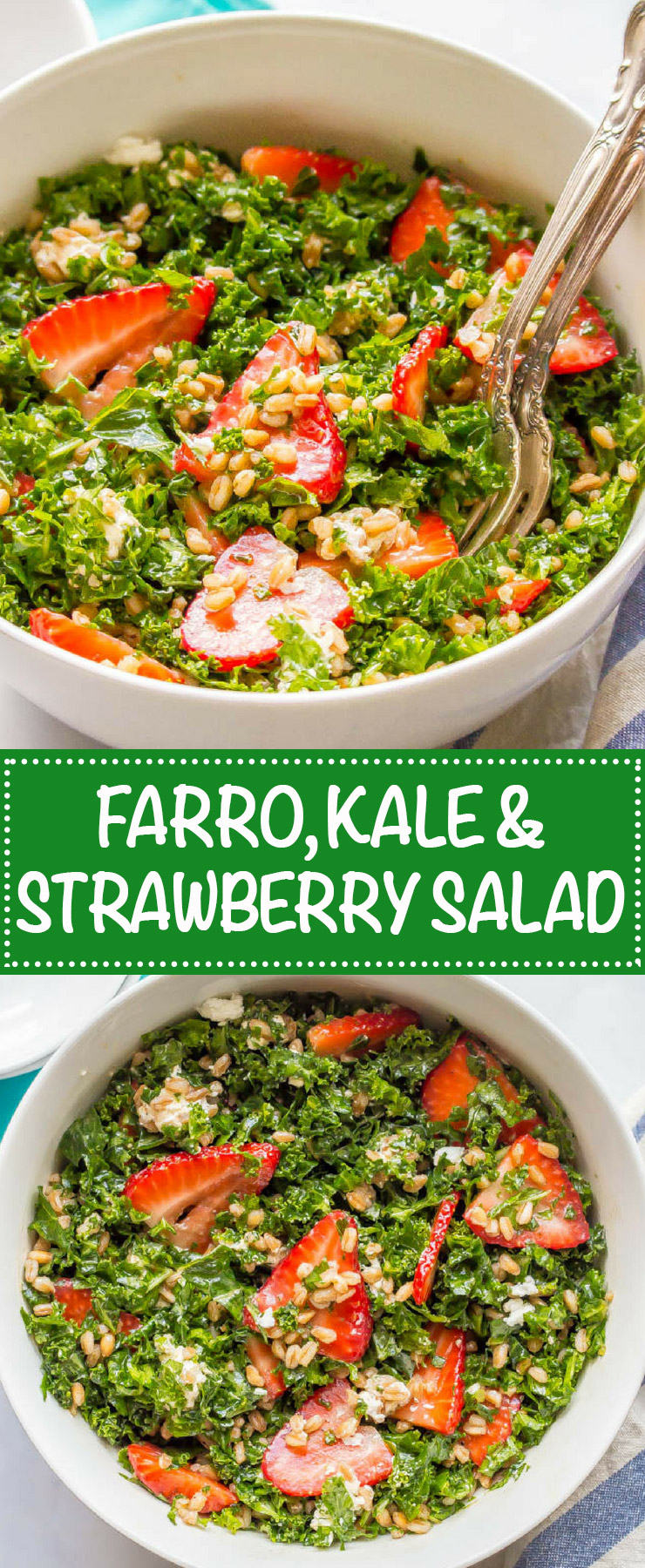 Farro, kale and strawberry salad with goat cheese is a delicious combination with bright, fresh flavors and tons of great texture. It's perfect for a light lunch or as a side salad with dinner. #farrosalad #kalesalad #veggiesalad #healthysalad | www.familyfoodonthetable.com