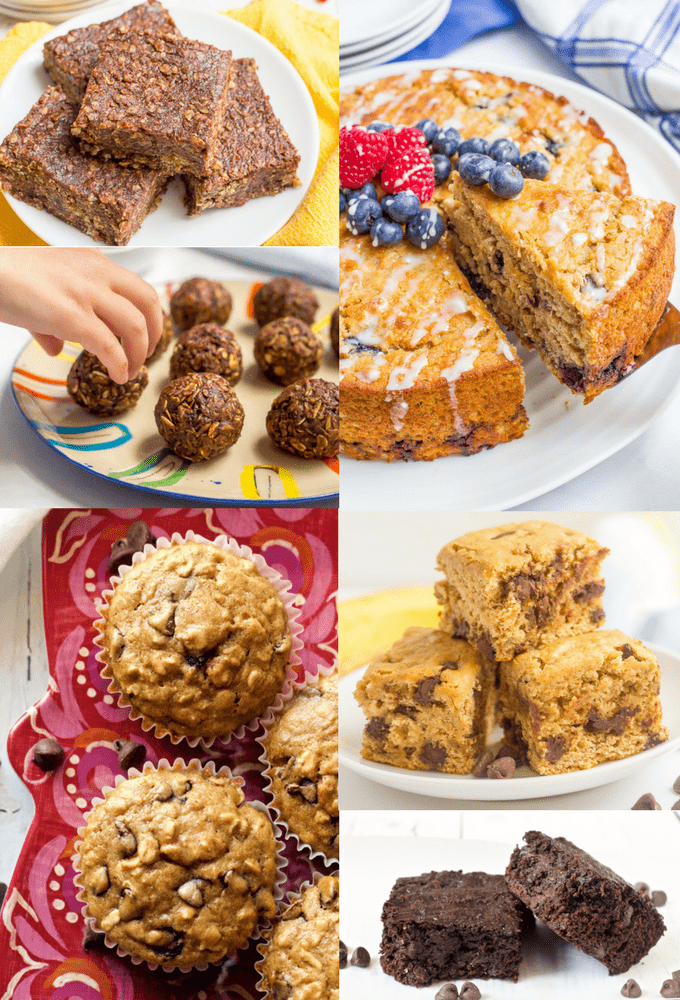 Healthy desserts including lightened up cookie bars, brownies, cakes, muffins and breads and no-bake energy bites. Satisfy your sweet tooth and stay on track! #healthydesserts #healthychocolaterecipes #healthysweets | www.familyfoodonthetable.com