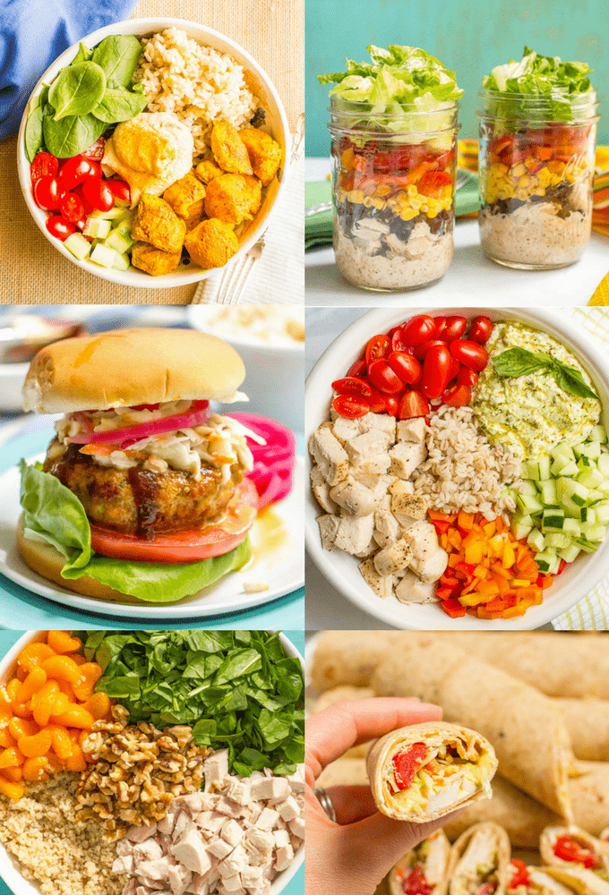 Photo collage of 6 different healthy lunch recipes using chicken