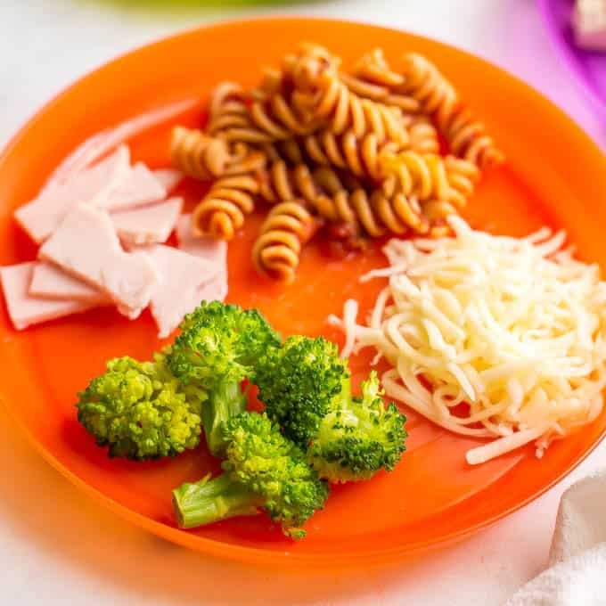 Orange kids plate with broccoli, shredded cheese, pasta with sauce and turkey pieces