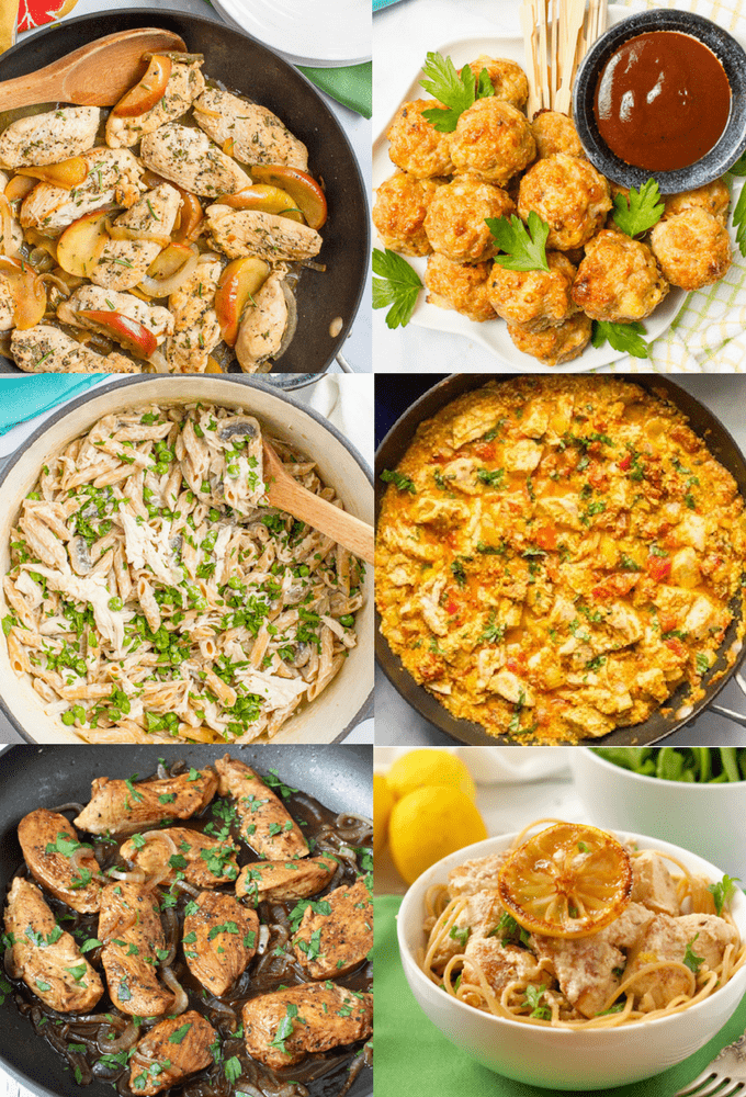 Photo collage of 6 different quick chicken recipes for lunch or dinner