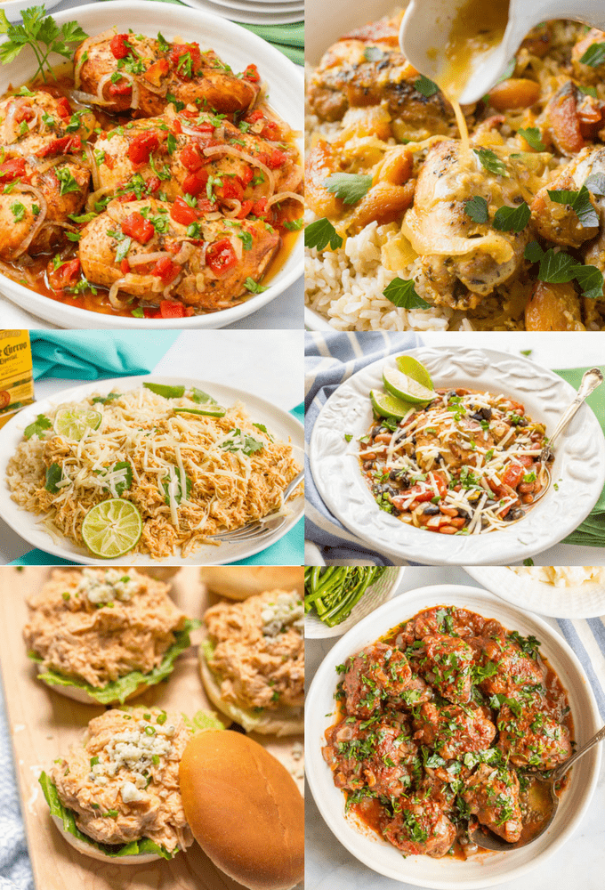 Photo collage of slow cooker chicken recipes