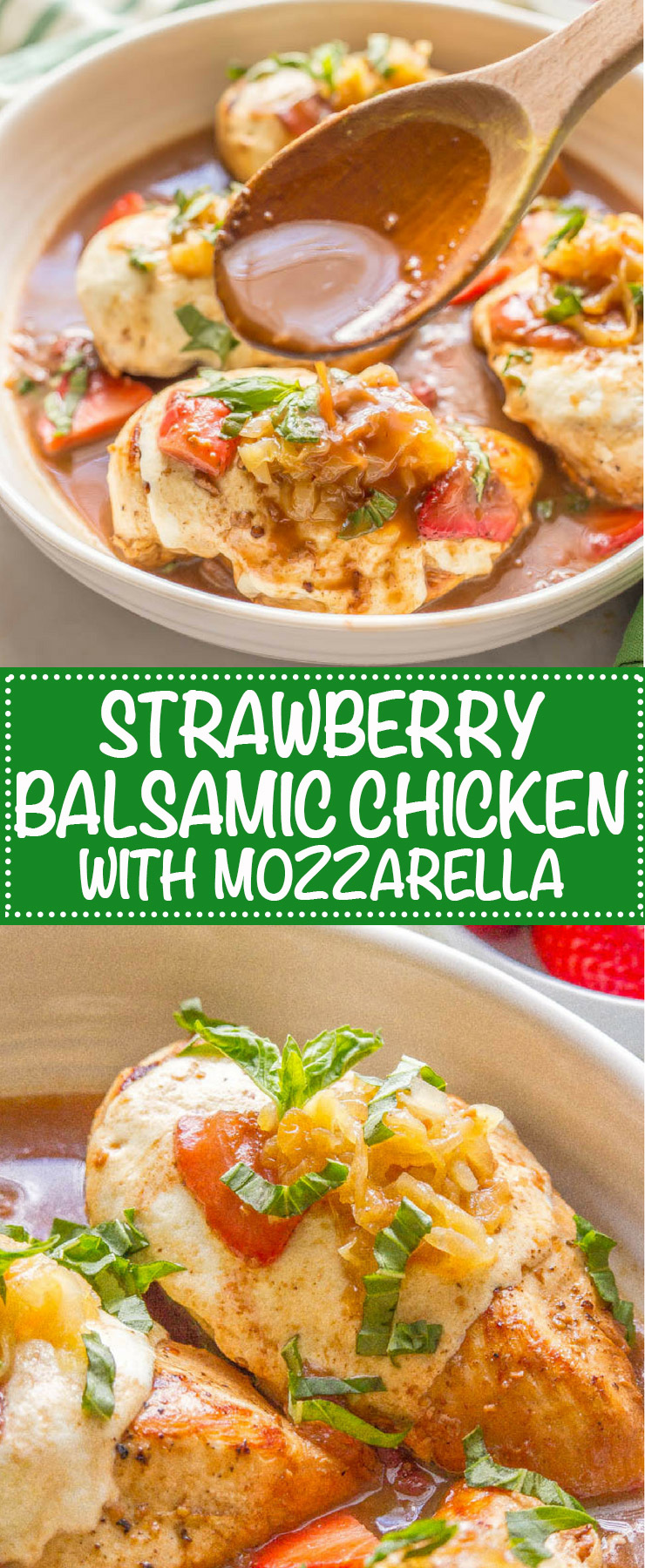 This easy strawberry balsamic chicken with mozzarella is a delicious and fresh dinner recipe with sweet strawberries, juicy chicken and melty mozzarella cheese. #easychickenrecipes #easychickendinner #cheesychicken | www.familyfoodonthetable.com