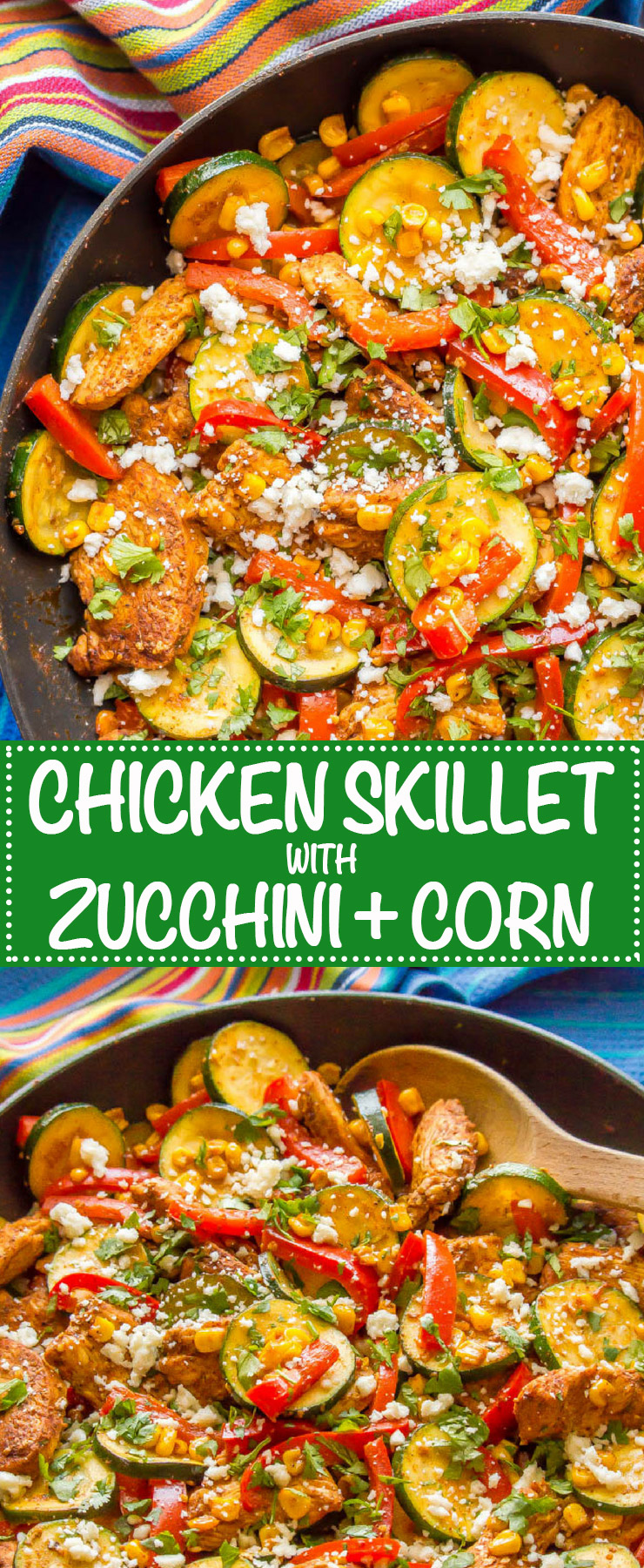 Chicken and zucchini skillet with corn is a one-pot wonder full of southwestern flavors, colorful veggies and juicy chicken. It's a gluten-free and low-carb recipe that's perfect for meal prepping. #onepotchicken #chickenskillet #lowcarbrecipe #chickenandveggies | www.familyfoodonthetable.com