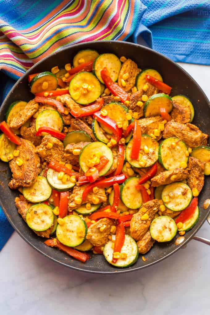 Healthy Chicken And Zucchini Skillet With Corn Family