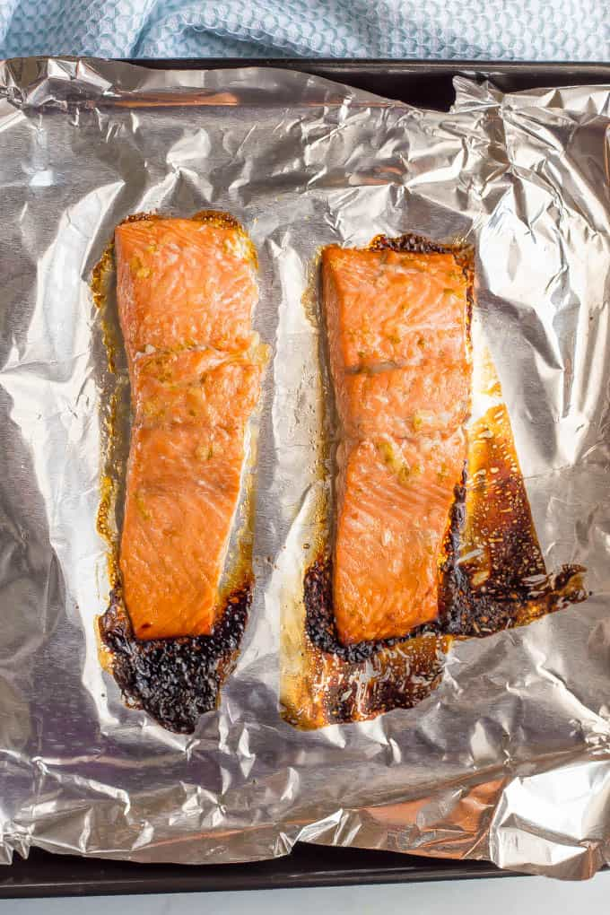Honey lime salmon roasted on a baking sheet