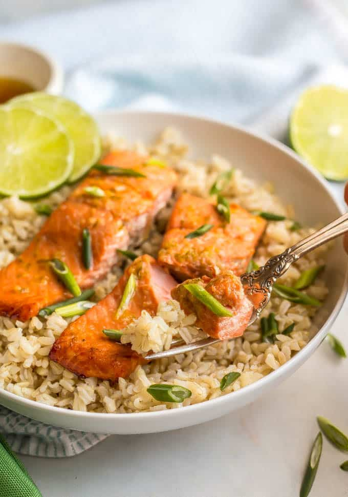 A fork resting in a white bowl with honey lime salmon and brown rice