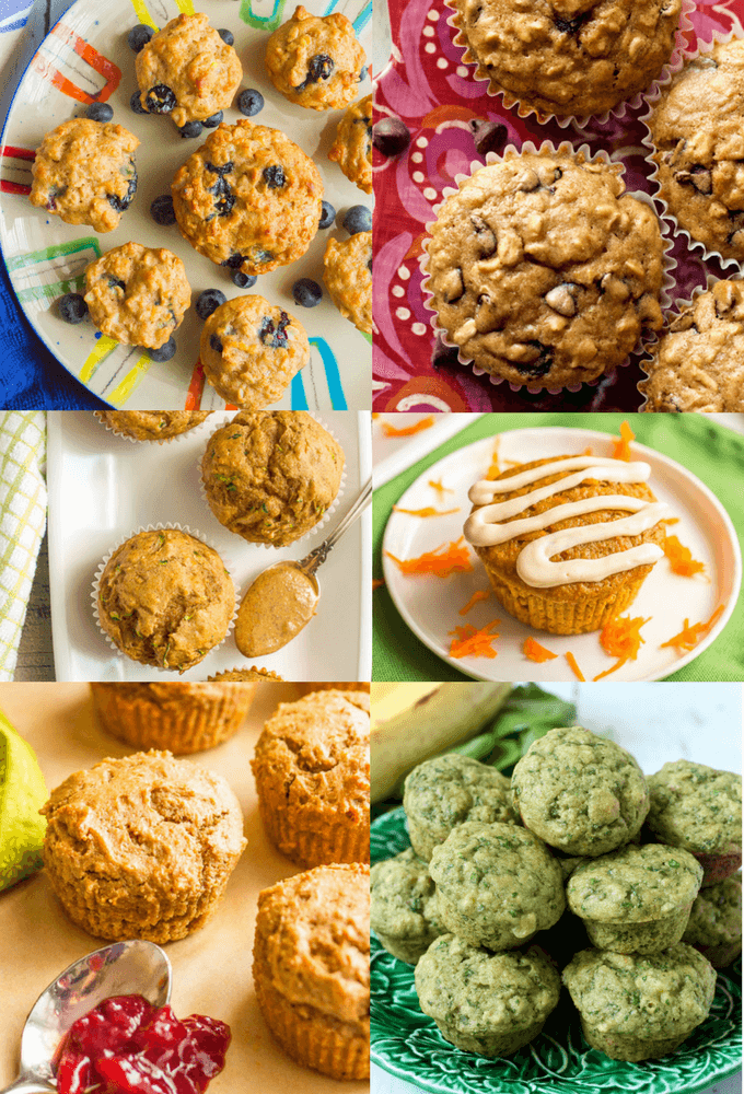 A collection of easy, kid-friendly healthy muffin recipes for all times of day: breakfast, school lunch, snacking, dinner and dessert! | www.familyfoodonthetable.com