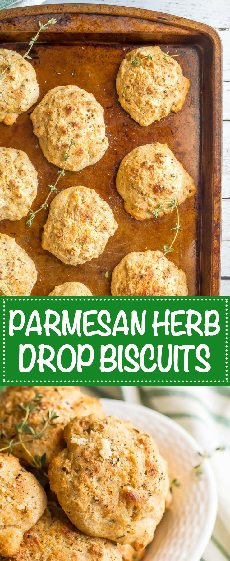 Parmesan herb drop biscuits are a quick and easy savory biscuit that's perfectly fluffy and tender and requires no kneading or rolling! Great for breakfast, brunch, or with soups or chili. #biscuits #brunchrecipes #MothersDayrecipes | www.familyfoodonthetable.com