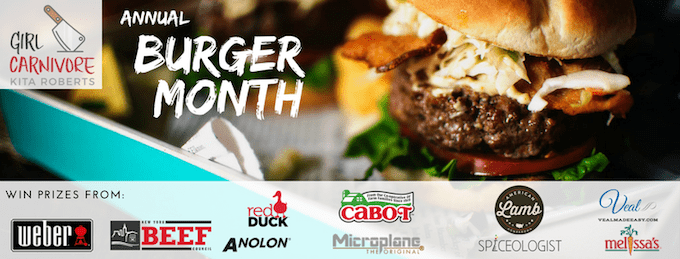 Annual Burger Month photo with prize sponsors listed
