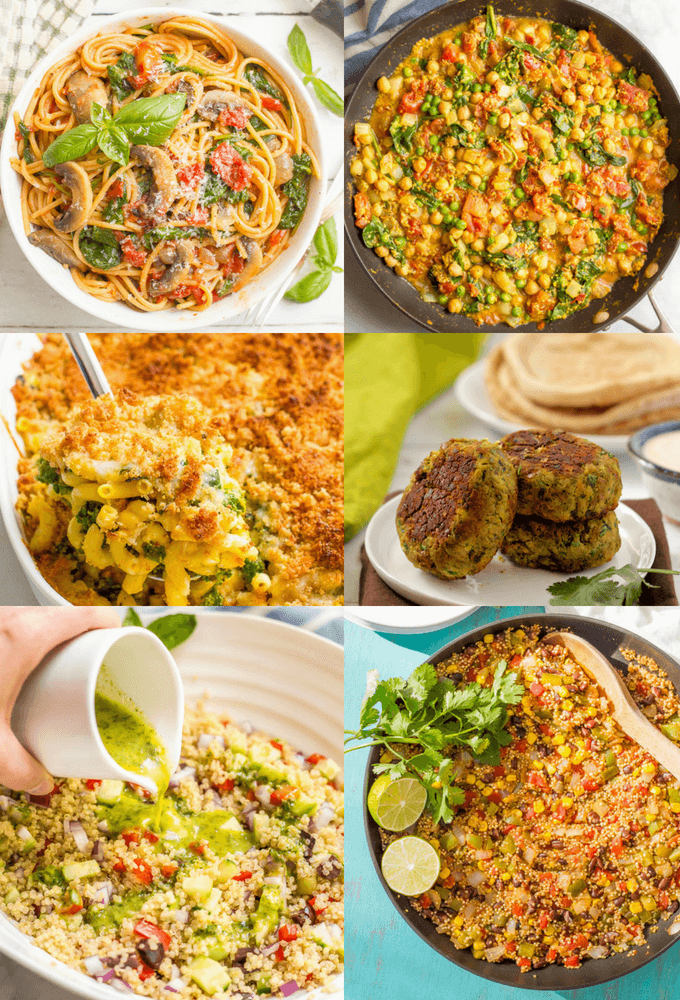 Easy vegetarian recipes include main-dish meals that are hearty and satisfying and can stand alone for lunch or dinner (with a few savory breakfast options as well). Everything from one-pot veggie pastas to stuffed squash to chili to veggie burgers and hearty grain bowls and salads, there are meatless options here for everyone! #vegetarianrecipes #vegetarianmeals #vegetariandinners | www.familyfoodonthetable.com