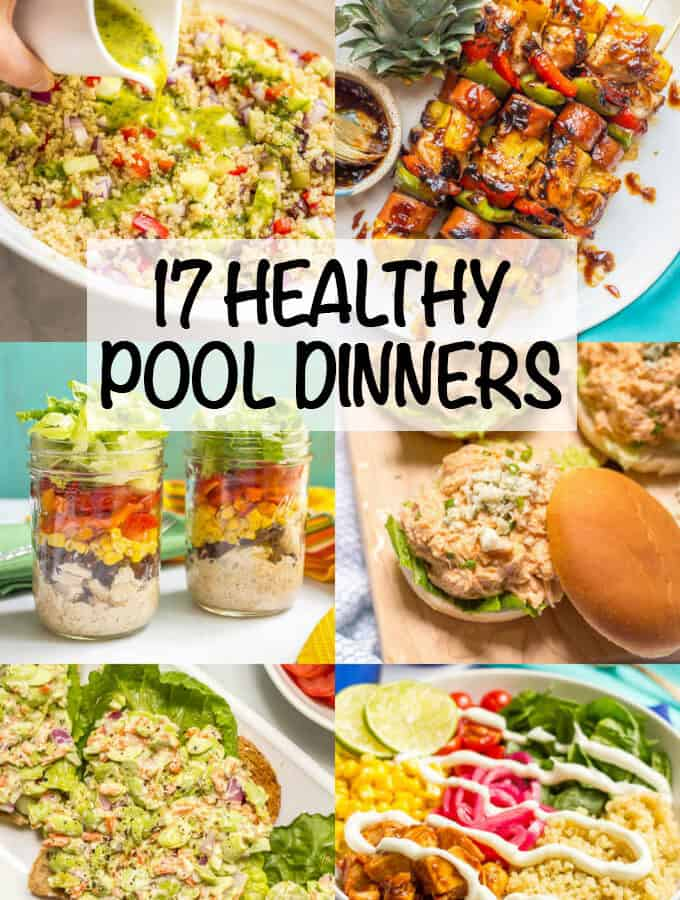 Check out these 17 ideas for healthy pool dinners (or lunches) that are easy and portable and perfect for summer evenings! Everything from pasta salads to sliders to sandwiches and wraps to snack boards (plus tons of recipes to try) - you'll be set for a delicious summer of fun! #summerdinners #pooldinners #healthysummerrecipes | www.familyfoodonthetable.com