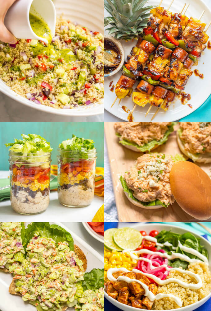 Check out these 17 ideas for healthy pool dinners (or lunches) that are easy and portable and perfect for summer evenings! Everything from pasta salads to sliders to sandwiches and wraps to snack boards, plus tons of recipes to try. You'll be set for a delicious summer of fun! #summerdinners #pooldinners #healthysummerrecipes | www.familyfoodonthetable.com