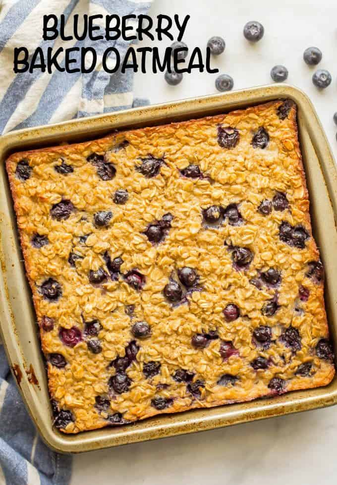 Blueberry baked oatmeal is a bright, fresh and healthy breakfast that's bursting with fresh sweet blueberries. Naturally sweetened and gluten-free, this makes a great make-ahead breakfast to have on hand for busy mornings. #bakedoatmeal #healthybreakfast #blueberryoatmeal