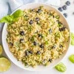 Blueberry basil quinoa salad with honey lime vinaigrette