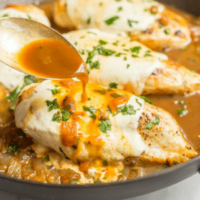 Easy mozzarella baked chicken has just a few simple ingredients but BIG flavor! It's warm and cheesy, requires just 6 ingredients and is ready in just 25 minutes, making it perfect for a quick dinner everyone will love!