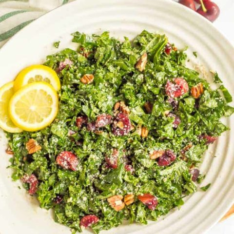 Massaged kale salad with cherries
