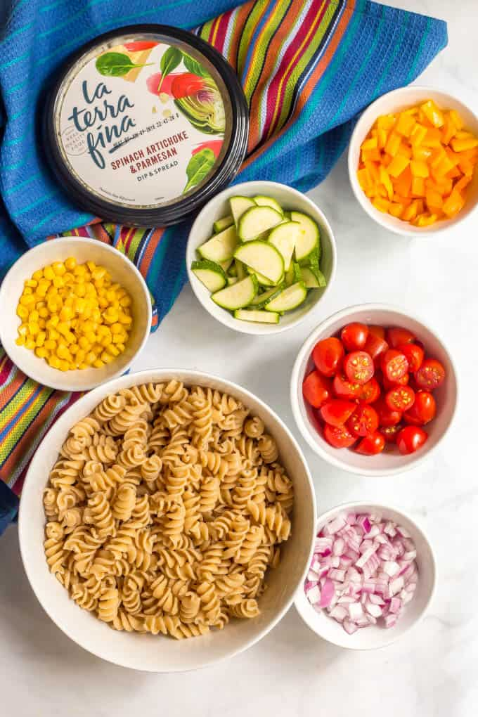 Ingredients for summer veggie pasta salad recipe
